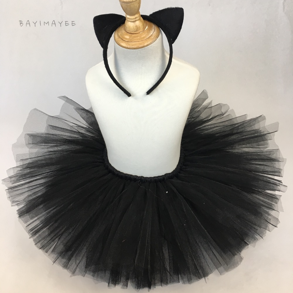 30ad1bfc38c6 Cute Baby Girls Black Cat Tutu Skirts Kids Fluffy Tulle Tutus Ballet ...