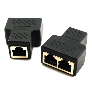 1 To 2 Ways RJ45 LAN Ethernet Network Cable Female Splitter Connector Adapter For Laptop Docking Stations(China)