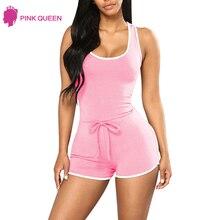 Pink Queen Backless Bodysuit Dames Romper Bodies Dames Dames Kleding Jumpsuit Zomer Dames 2018 Pyjama Jumpsuit Dames Coton