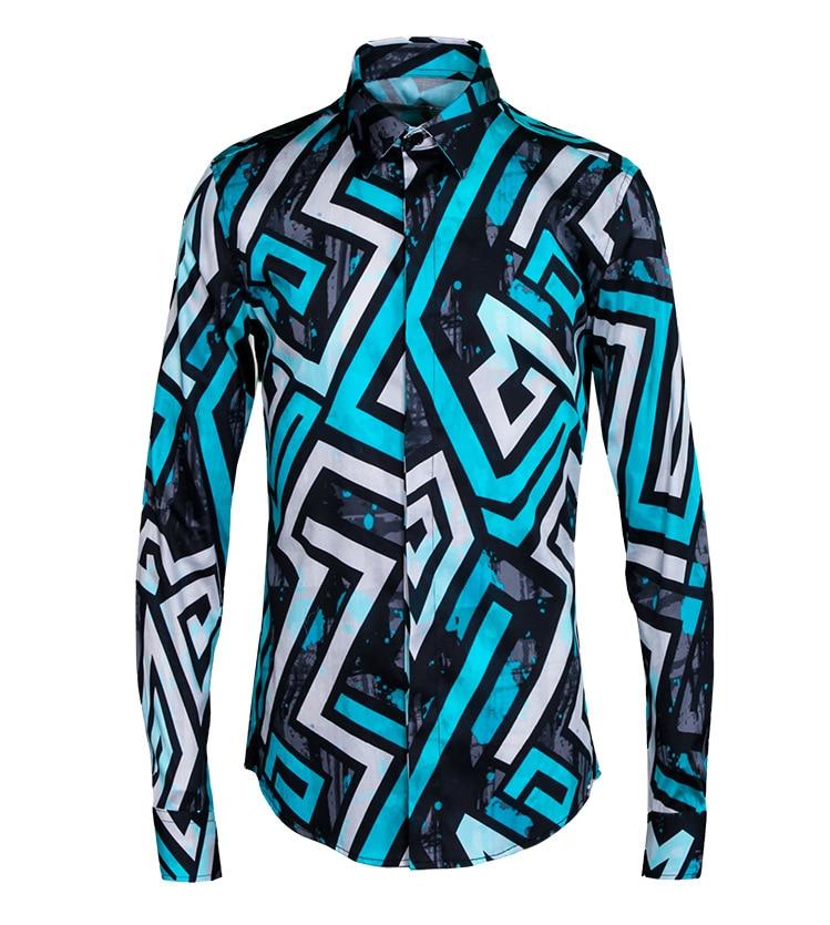 2017 Fancy Shirts Mens Color Block Shirts Camisetas Masculinas Irregulares Geometric Printed Shirts Stripe Blue Camisa Slim Fit