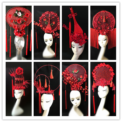 China Red custom catwalk model game headdress makeup styling headdress hair accessories