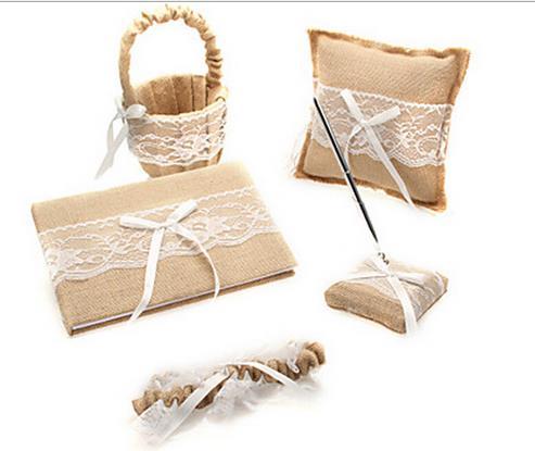 Vintage anneau de mariage oreiller et panier de fleurs mariage livre d'invité et stylo ensemble avec toile de jute dentelle ruban Bowknot fournitures de mariage