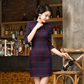 Retro Women Slim Summer Chinese Cheongsam Dress Plaid QiPao Qi Pao Half Sleeve Traditional Chinese Clothes Cheongsams