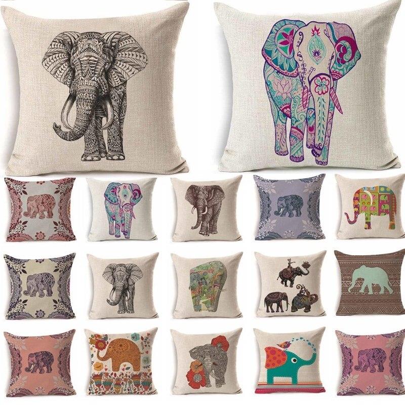 Bunte Elefantenmuster Baumwolle Leinen Kissen Kissenbezug Auto Home Sofa Dekorative Kissenbezug Strong Powerful 40237