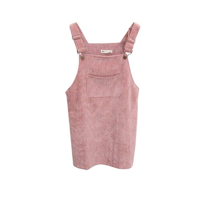 New Fashion Women Corduroy Suspender Retro Summer Street Stylish Sundress Spuare Collar Overall Vest Ladies Short Mini Dress