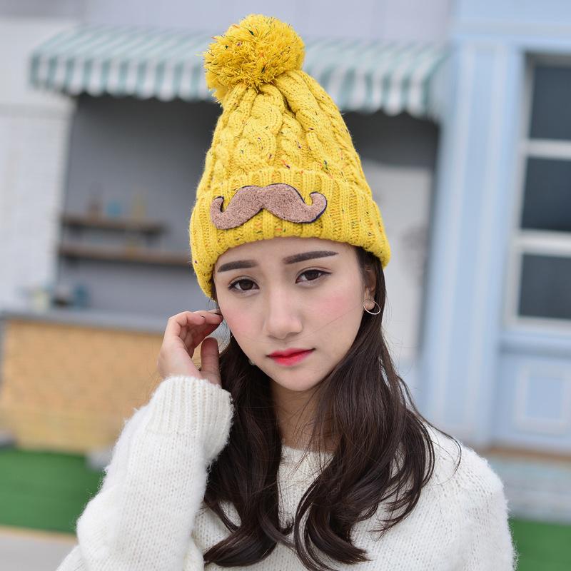 c6c569a1a5d9fd 2018 Winter Damen Warme Mütze Damen Strickmütze plus Samt verdickt süß süß  koreanisch gestrickte Studentenmütze HA14