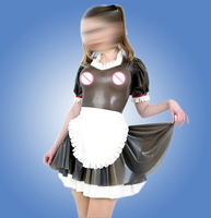 Latex Maid uniform dress Transparent Black Latex Uniform Suit With Apron