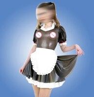 Latex Maid uniform dress Transparent Black Latex Uniform Suit With Apron