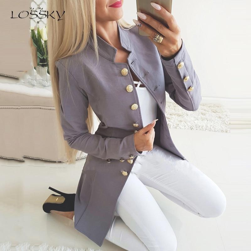 Lossky Women Jacket Blazers Slim Lady Office Wear Outwear Long Sleeve Stand Collar Formal Suit Long Black Red Autumn Thin Coat