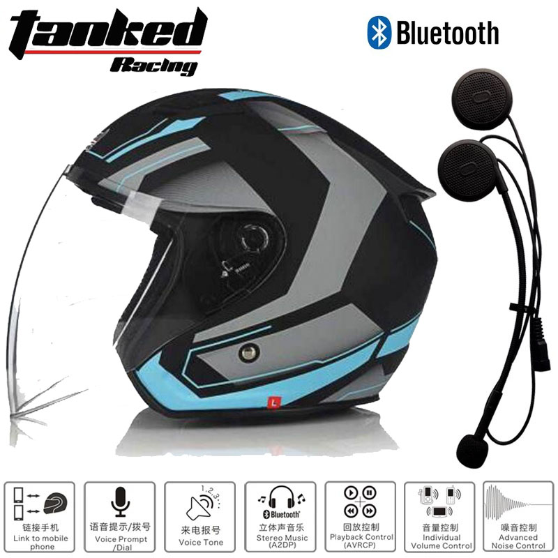 2018 Summer New Tanked Racing Half Face Motorcycle Helmet T536 Motorbike Helmets Made of ABS and PC Visor Lens with Bluetooth 2017 new yohe full face motorcycle helmet motorbike racing helmets made of abs and pc lens visor model yh 991 size m l xl xxl