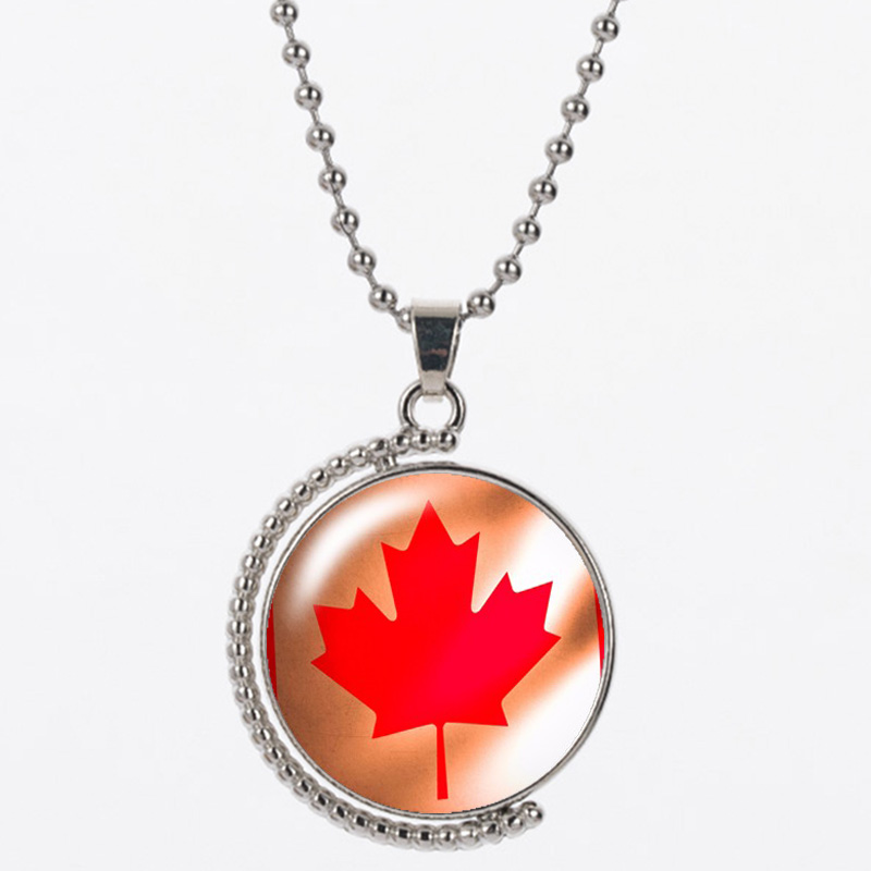 CAB2 big Maple leaves resin send with bag 925 silver chain round shape have red and black for women