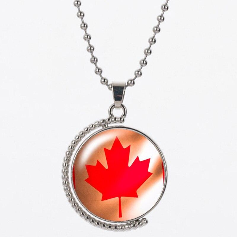 CAB2 grand feuilles D'érable résine envoyer avec sac 925 chaîne en argent forme ronde ont rouge et noir pour les femmes