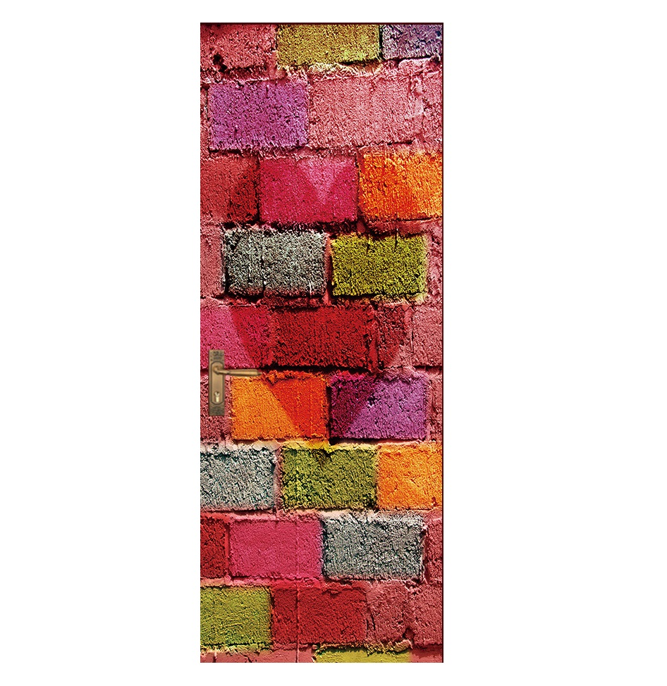 Image 3 - Vintage Bricks Wall Effect Broken Wall Retro Door Murals Wall Mural Door Decals Wall Door Stickers Wallpaper Mural Heart Printed-in Wall Stickers from Home & Garden