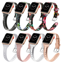 Lerxiuer leather Strap for apple watch band 4/3/2 iwatch 44mm strap slim bracelet correa watchband