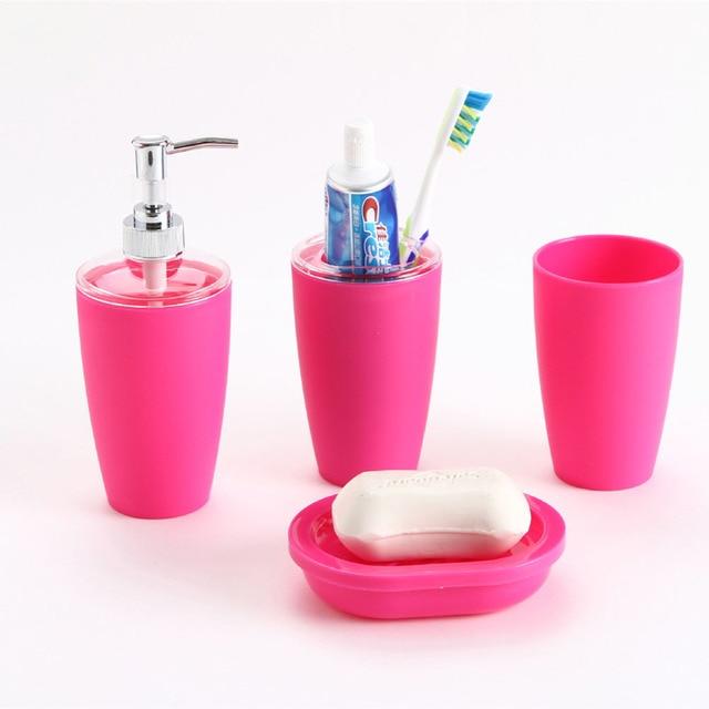 4pcs Plastic Elegant Bathroom Toilet Accessories Set Soap