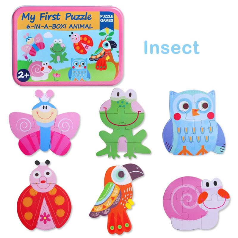 Wooden Puzzle Jigsaw Toys Kids Baby Early Educational Toy Iron Box Pack