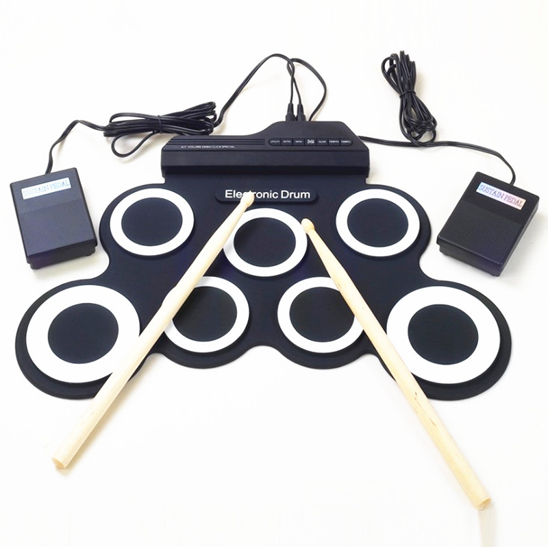 ZONAEL Professional 7 Pads Portable Digital USB Roll up Foldable Silicone Electronic Drum Pad Kit Drumstick Foot Pedal Foldable 6pcs set 39x 27 5x2 5cm silica gel foldable portable roller up usb electronic drum kit 2 drum sticks 2 foot pedals