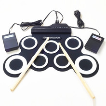 ZONAEL Professional 7 Pads Portable Digital USB Roll up Foldable Silicone Electronic Drum Pad Kit Drumstick Foot Pedal Foldable