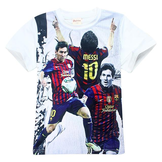 99df70702 Barcelona Shirt Summer Children Clothing Short Sleeve Tees Baby Boy Clothes  Messi Tops Ronaldo cR7 Football t shirt