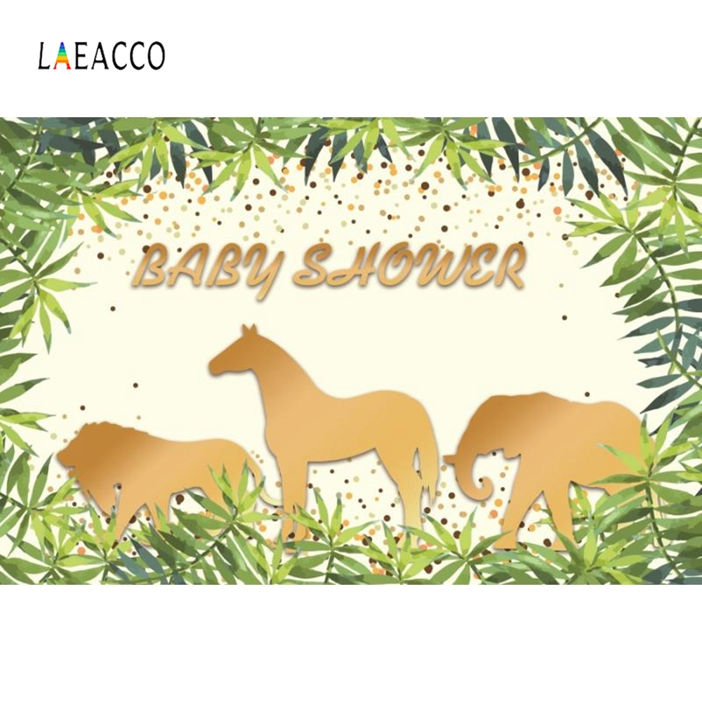 Laeacco Golden Animals Elephant Baby Shower Portrait Photography Backgrounds Customized Photographic Backdrops for Photo Studio