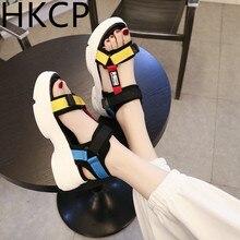 HKCP Sandals women summer 2019 new fashion platform high beach sports versatile student  sandals C223