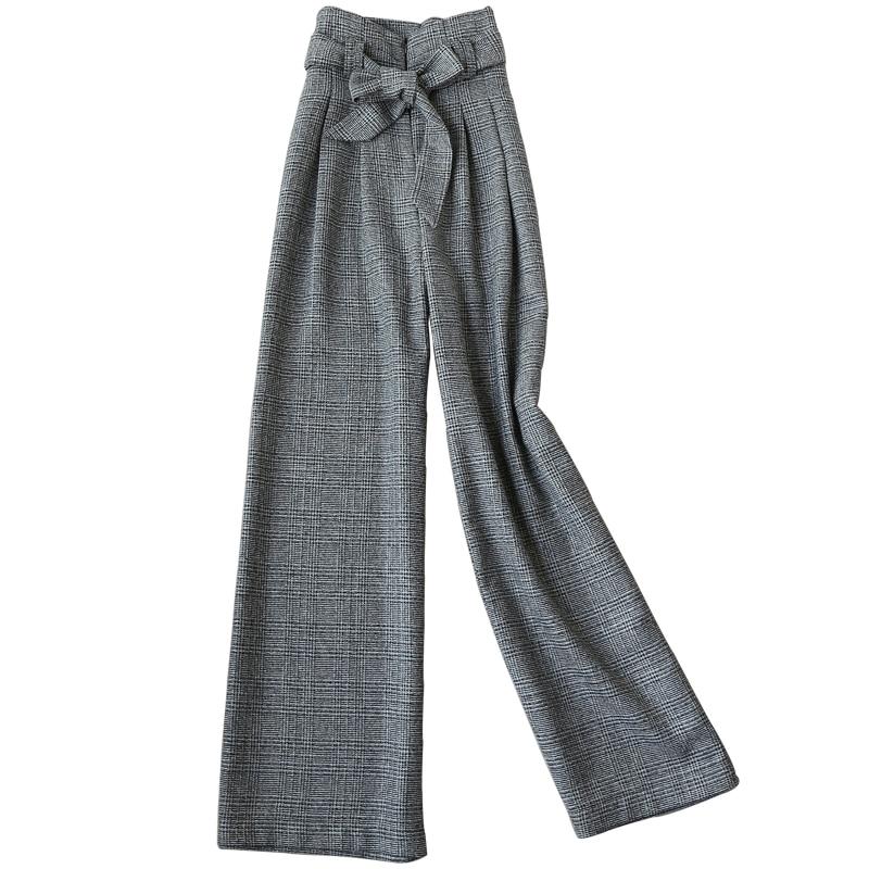 2018 automne nouvelles femmes en laine plaid droit large jambe pantalon taille haute mode lâche pantalons dames