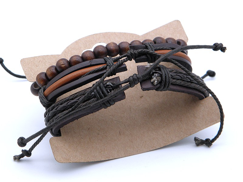 Stylish leather Braid Hemp bracelets Men's Women's Handmade Wood Beads leather Wrap Combined bracelets Jewelry Gifts 3pcs/set 19