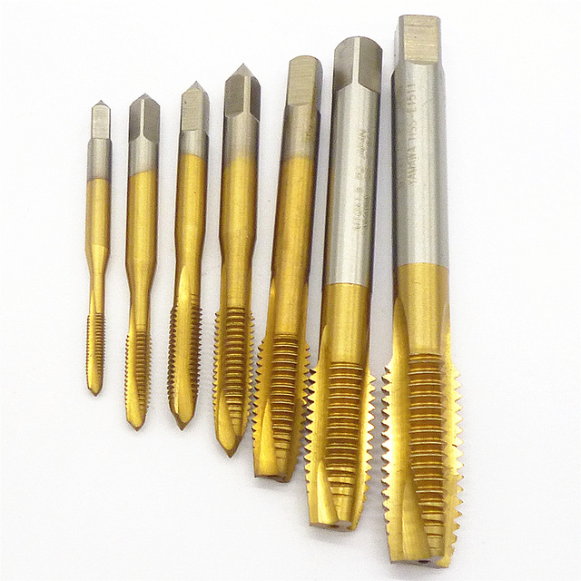 7pc Machine Spiral Point Plug Tap HSS Titanium M3 M4 M5 M6 M8 M10 M12 Straight Flute Thread Metric Machine Screw Taps free shipping 1pc high quality hss 6542 full cnc grinded machine straight flute m39 4 0 hss tap screw taps hss tin coating