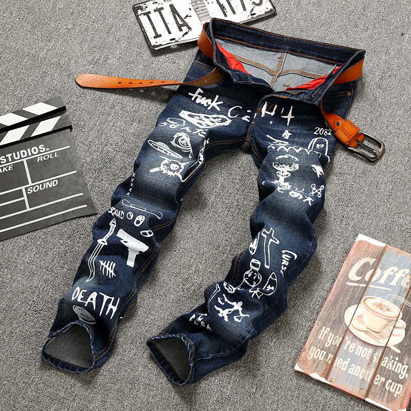 Printing Brand Mens Jeans Straight Ripped Jeans For Men Zipper Fly Denim Jeans Men Fashion Designer Pants Blue Jeans Homme 28-38 famous brand mens jeans straight ripped biker jeans for men zipper denim overalls men fashion designer pants blue jeans homme