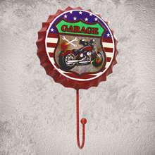 Route 66 Motorcyle Garage Vintage cerveza tapa con gancho ganchos de abrigo ropa tienda vestidor pegatinas de pared de habitación Decoración