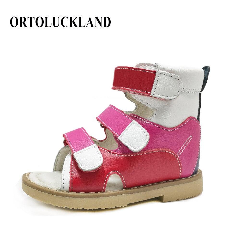 Російські дитячі дівчата літні фантазії сандалі природні шкіряні червоні ортопедичні туфлі ортопедичні взуття для дітей плоскі ноги взуття