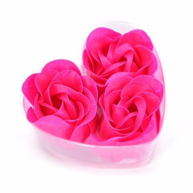 Hot Sale 3pcs Scented Bath Body Flower Soap Rose Petal in Heart Box Wedding Favor 2
