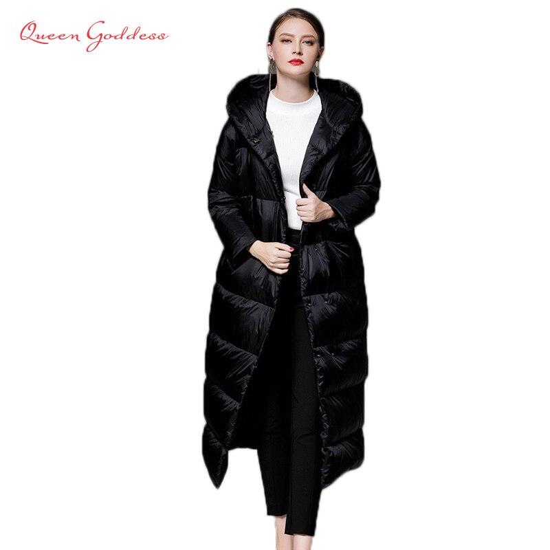 2018 hiver style simple cocon type femmes 90 blanc duvet de canard veste longue parkas avec grand à capuchon plus la taille chaud outwear