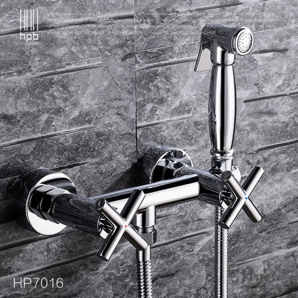 HPB Brass Bidet Faucet Hot and Cold Water Mixer Bathroom Toilet Portable Spray With Shower Holder Handheld HP7016 high pressure toilet bidet faucet cold and hot water tap polish chrome bidet mixer ducha higienica
