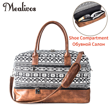 цена на Mealivos 2017 Fashion Canvas Large Weekend Bag Overnight Travel bag Carry On Duffel with Shoe Pouch Duffel  weekender Bags