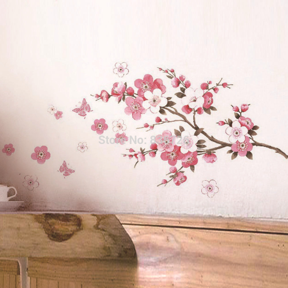 2016 Hot Home Decor Room Wall Stickers Pink Cherry Screen Posters Newly Bedroom  Accessories Mural adesivo