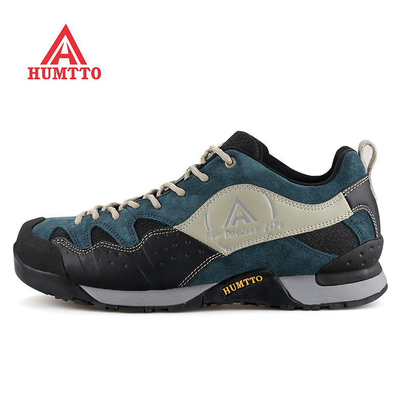 HUMTTO Men's Leather + Fabric Outdoor Hiking Trekking Shoes Sneakers For Men Sport Climbing Mountain Camping Shoes Man humtto men s summer sports outdoor trekking hiking sandals shoes for men sport climbing mountain shoes man sandals