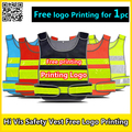Safety vest free logo printing reflective security vest black seguridad vest security guard working clothing