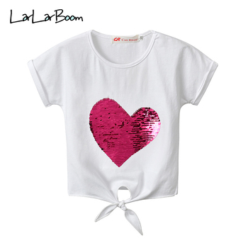 LarLarBoom Children's Tops Summer Short Sleeve Baby Girls Clothes Heart Sequins Bandage T-shirt 2019 New Casual Girl T-shirts