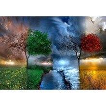 Лидер продаж Four Seasons дерево Пейзаж DIY цифровая картина маслом номера современные стены книги по искусству холст живопись уникальный подарок домашний декор 40×50