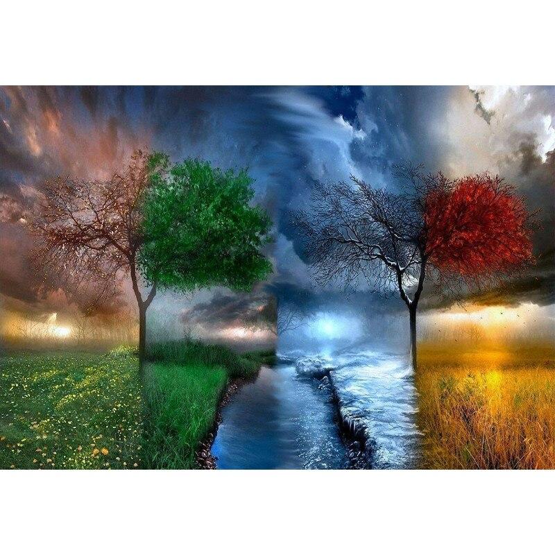 Venda quente Quatro Estações Árvore Paisagem Pintura Digital DIY Por Números Moderna Pintura da Lona Arte Da Parede Decoração da Casa Presente Original 40x50