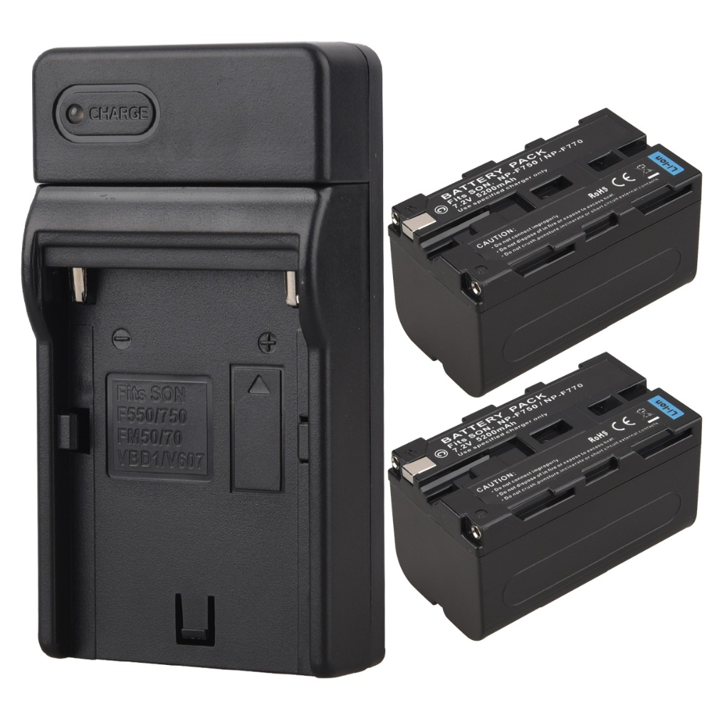 2x 5200mAh NP-F750 NP-F770 NP F750 NP F770 Replacement Digital Camera Battery + USB Charger for Sony NP-F750 NP-F770 Battery