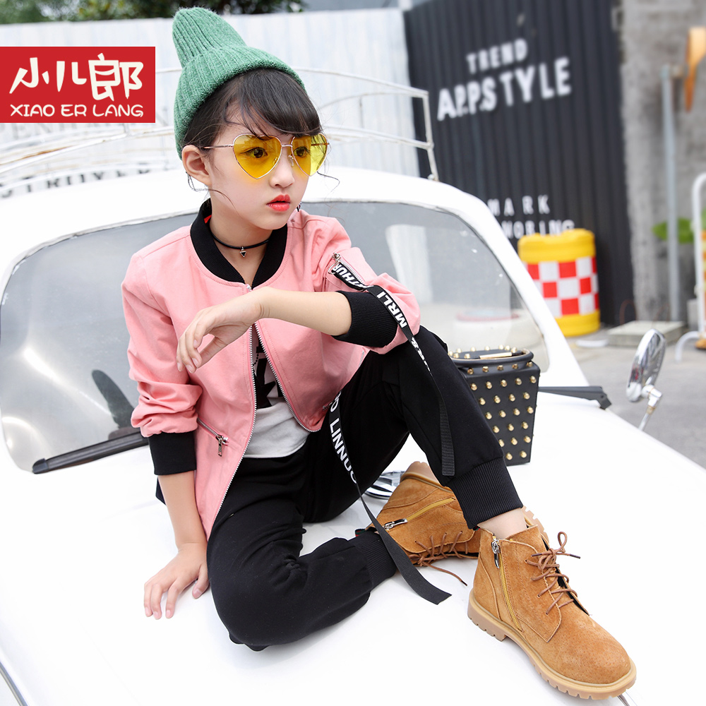 Girl sports leisure suit fashion yellow white pink jacket autumn for size 4-14 years child Korean black trousers two piece suit [free shipping] 2015 new arrival fashion female 1 4 years child love baby cashmere long sleeved jacket trousers leisure suit