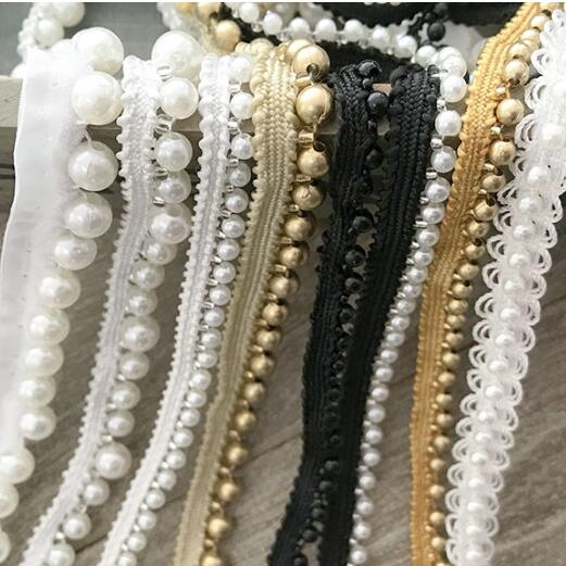 Us 432 10 Offhigh Quality Webbing Unilateral Beaded Lace Accessories Wedding Dress Diy Black And White Pearl Lace Dress Decoration Edge Rs875 In