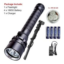 18650 Diving Tactica Flashlight UV Purple Light XPE LED Zaklamp Underwater 100m Dive Scuba Torch Flash Light For Camping Hunting(China)