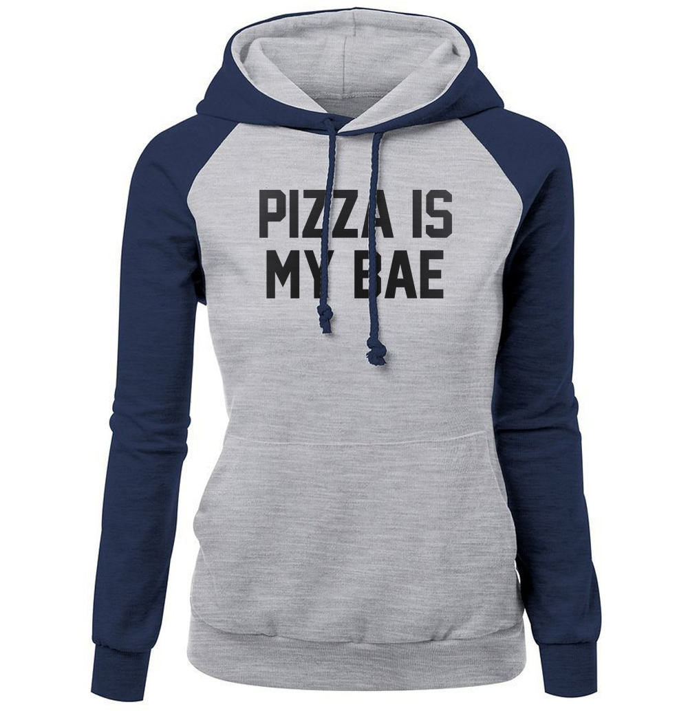 New Arrival Women's Hoodies 2017 Autumn Winter Sweatshirts For Women Letter Print PIZZA IS MY BAE Funny Women's Sportswear Kpop