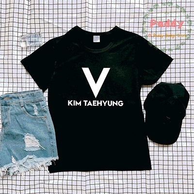 BTS tumblr KPOP style summer top V KIM TAEHYUNG tshirt letter print cool  streetwear O neck short sleeve befree groot korean tee-in T-Shirts from  Women s ... 8018869b3070
