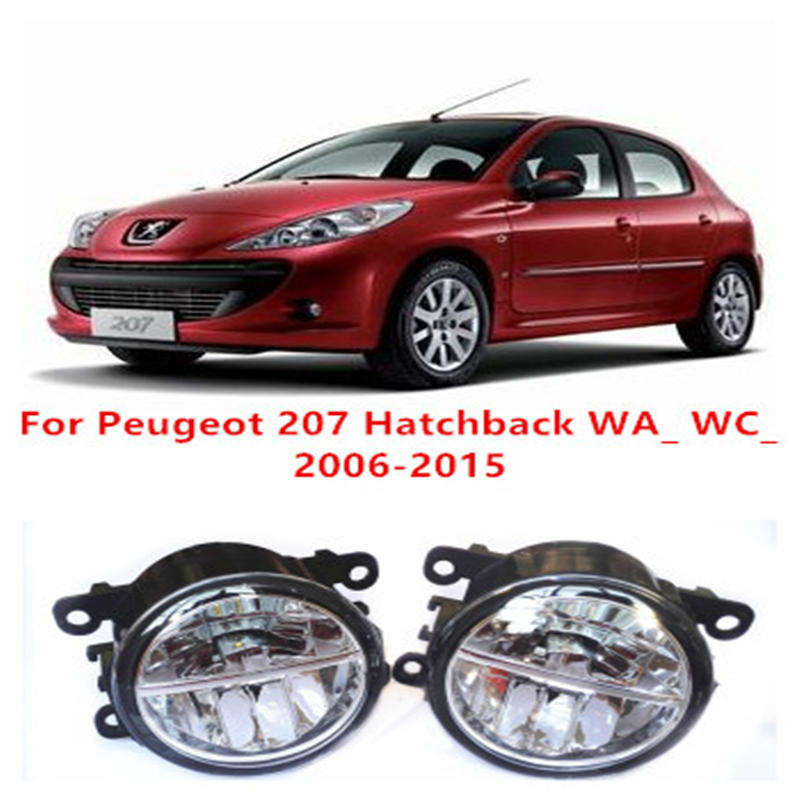 For Peugeot 207 Hatchback WA_ WC_  2006-2015 Fog Lamps LED Car Styling 10W Yellow White 2016 new lights for peugeot 207 hatchback wa wc