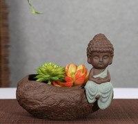 Creative Ceramic Flower Pot Personalized Buddha Monk Pattern Flower Pot Purple Clay Household Decoration