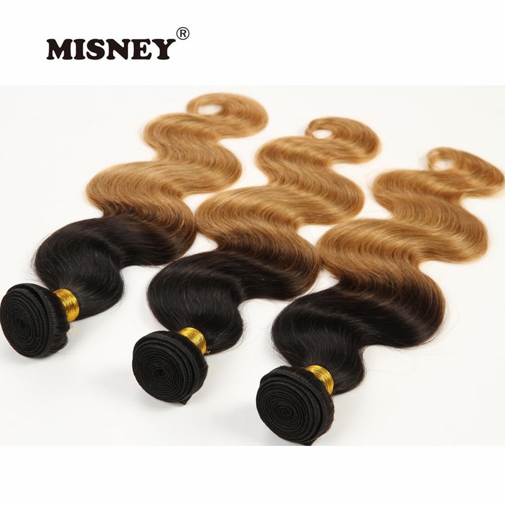 Cheveux brésiliens armure paquets 100% vierge Extensions de cheveux humains Ombre deux tons vague de corps T1B/27 Ombre couleur Blonde 3 pièces un paquet - 3